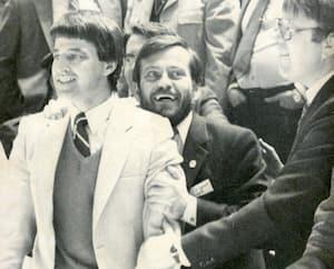 Michel Bergeron lors des séries de 1982