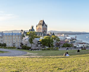 Frontenac Castle in Old Quebec City in the beautiful sunrise light