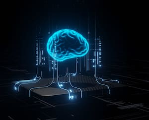 3D Rendering of Artificial Intelligence hardware concept. Glowing blue brain circuit on microchip on computer motherboard. For big data processing, ai trading, machine learning, technology background