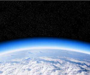 Ozone layer from space view of planet Earth