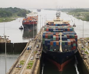 Cargo Ship in Panama Canal