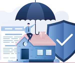 Home Insurance Service. Cottage, businessman with umbrella, security shield and insurance agreement paper.