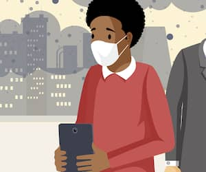 People inhaling smog flat vector illustration. Industrial emissions, co2 negative health influence, polluted city with gas waste. Sad men suffering from toxic pollutants, having breath problem