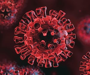 Corona Virus In Red Background - Microbiology And Virology Concept - 3d Rendering