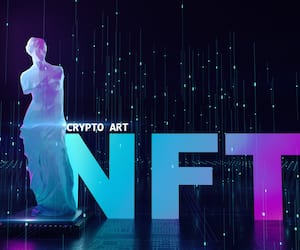 NFT non fungible tokens crypto art on colorful abstract background. glowing low poly statue of venus with chip Pay for unique collectibles in games or art. 3d render of NFT crypto art collectibles concept