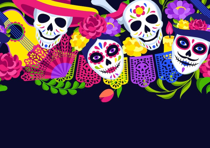 Day of the Dead seamless pattern. Dia de los muertos. Mexican celebration.