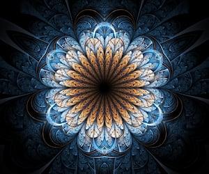 Golden fractal flower, digital artwork