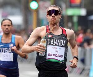 Mathieu Bilodeau occupait le quatrième rang à l'épreuve de marche de 50 km des Jeux panaméricains à Lima, en août dernier, quand il avait été forcé d'abandonner au 40e km en raison de douleurs aux jambes.