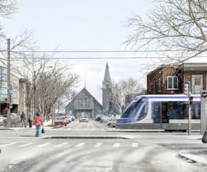 Le passage du tramway changera les habitudes de déplacement dans le secteur Limoilou. Ici on voit l'insertion du nouveau mode de transport au coin de la rue des Frênes et de la 1re Avenue.