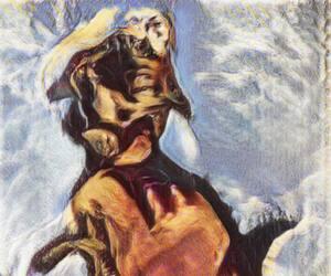 Image d'un chien créée par «Generative Adversarial Networks». Cette image a été utilisée dans le premier livre d'art d'IA publié.