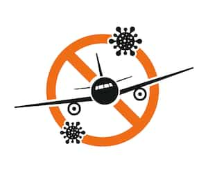 Airplane with virus. Prohibition of flights on an airplane due to coronavirus. Vector illustration