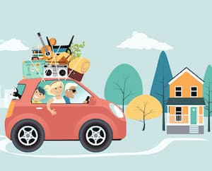 Young family relocating from a city to suburbs or a small town for remote work, EPS 8 vector illustration