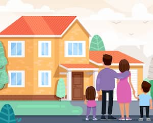 Happy family is looking at their new home. Vector illustration