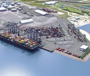 Le projet Laurentia du Port de Québec consiste en l'ajout d'une ligne de quai en eau profonde de 610 mètres.