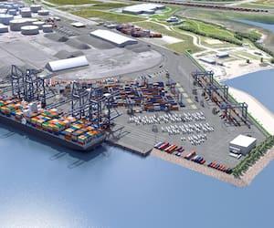 La maquette du projet Laurentia prévoit la construction d'une aire d'entreposage et d'une cour intermodale ainsi que la prolongation de la ligne de quai de 610 mètres pour faire transiter environ 700 000 conteneurs par an.