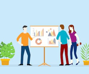 team business analyze graph and chart data on the presentation board vector