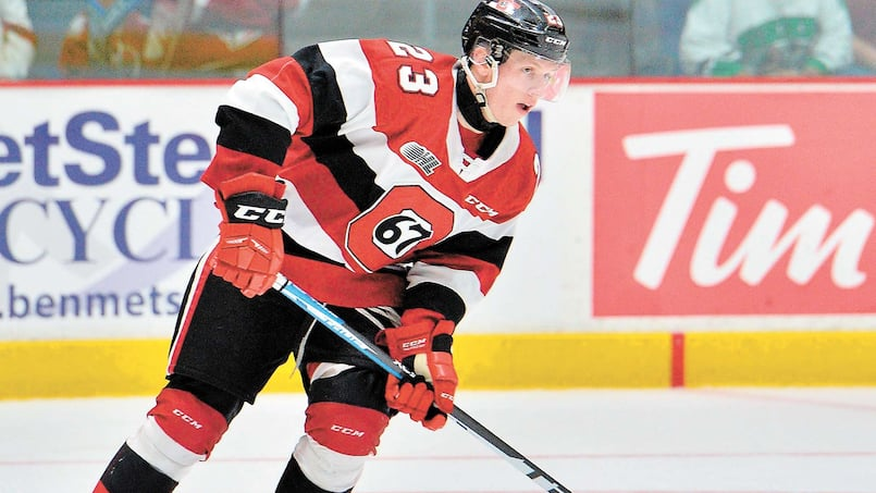 Marco Rossi of the Ottawa 67's. Photo by Terry Wilson / OHL Images.