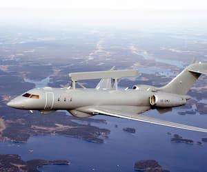 L'avion de surveillance GlobalEye de Saab, qui est un jet d'affaires Global 6000 de Bombardier modifié.