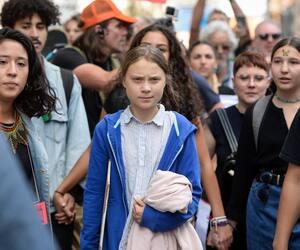 Greta Thunberg lors de son passage à Montréal en 2019.