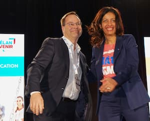Les candidats à la chefferie du Parti libéral du Québec, Alexandre Cusson et Dominique Anglade