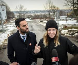 Le candidat de Québec solidaire dans Jean-Talon, Olivier Bolduc, et la députée de Taschereau, Catherine Dorion.