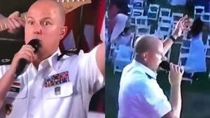 Image principale de l'article Un militaire chante du Bruno Mars devant personne