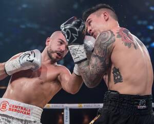 Mathieu Germain (à gauche) et Steve Claggett (à droite) s'étaient livré un combat nul, en janvier 2019, à Montréal.