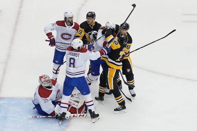 Le Canadien de Montréal et les Penguins de Pittsburgh s'affrontent à Toronto dans le deuxième match de la série les opposant.  Le Canadien de Montréal et les Penguins de Pittsburgh s'affrontent à Toronto dans le deuxième match de la série les opposant.
