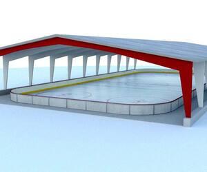 Une illustration de patinoire extérieure couverte et réfrigérée. Québec 21 propose d'en implanter six sur le territoire, soit une par arrondissement.