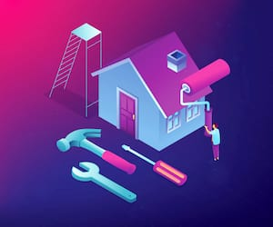 Businessman renovating house with paint roller and DIY home repair tools. DIY repair, do it yourself service, self-service learning concept. Ultraviolet neon vector isometric 3D illustration.