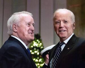 L'ancien premier ministre du Canada, Brian Mulroney, et l'ex-sénateur démocrate du Delaware, Joe Biden, aujourd'hui président élu des États-Unis, sont de bons amis.