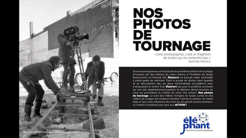 Éléphant invite le public à l'exposition Nos photos de tournage à la Cinémathèque québécoise