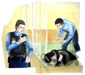 Luka Rocco Magnotta s'est évanoui dans le box des accusés lors de son enquête préliminaire, le mardi 19 mars 2013 au matin, dans une salle du palais de justice de Montréal.