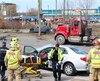 La vitesse pourrait être àl'origine de la collision frontale survenue à l'angle de la rue Antoine-Silvy et de l'avenue De La Ronde, mardi, qui a fait deux blessés. Les deux voitures impliquées dans l'accident ont subi de lourds dommages.