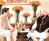 Le premier ministre canadien, Justin Trudeau accompagné du chef du gouvernement du Pendjab, Amarinder Singh.