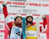 (4) Justine DUFOUR-LAPOINTE (CAN) (1re) et (2) Mikael KINGSBURY (CAN) (1er) lors de l'épreuve des bosses dans le cadre de la coupe du monde FIS de ski acrobatique au centre de ski Val Saint-Côme samedi le 21 janvier 2017. MARTIN CHEVALIER / LE JOURNAL DE MONTRÉAL