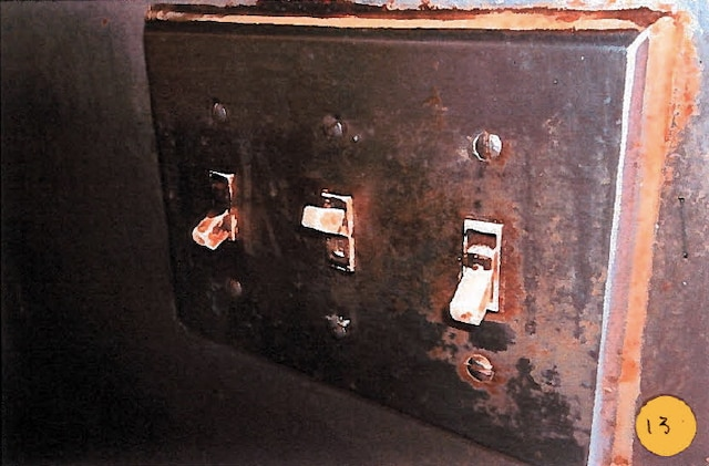 Des résidus brunâtres étaient imprégnés à une plaque d'interrupteurs sur le mur derrière la cuisinière lors du passage d'une inspectrice qui a pris cette photo.