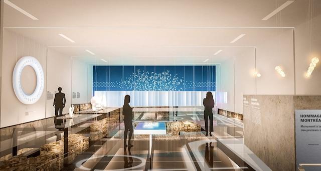 Les visiteurs apercevront à travers un plancher de verre les vestiges du fort de Ville-Marie.