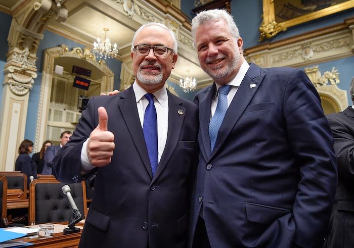 Le ministre des Finances, Carlos Leitao et le premier ministre, Philippe Couillard