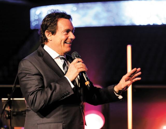 Le président et chef de la direction de Québecor, Pierre Karl Péladeau, s'est notamment adressé aux participants lors de la soirée de mercredi au Centre Vidéotron.