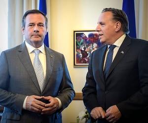 Francois Legault lors de sa rencontre avec le premier ministre de l'Alberta, Jason Kenney, le 12 juin dernier.