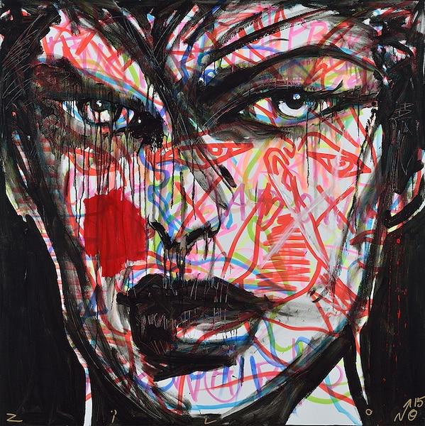 """Apocalypse Bonbon$ #1, 48"""" x 48"""", acrylique sur toile."""