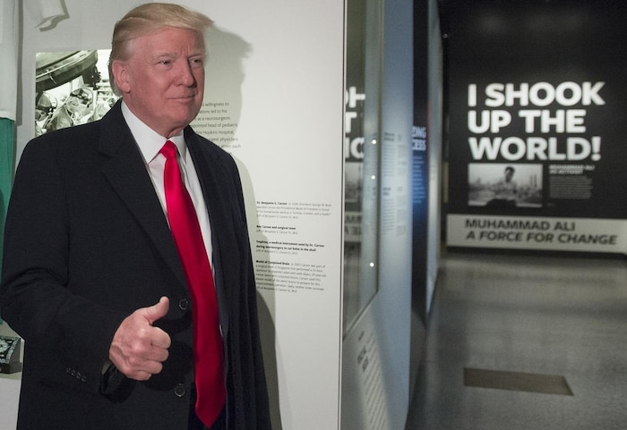 Donald Trump a visité le Smithsonian National Museum of African American History and Culture à Washington, le 21 février.