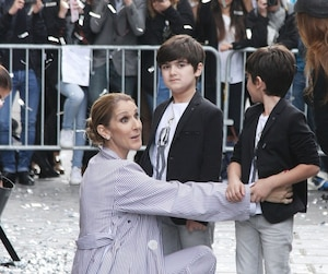 Celine Dion leaves the Royal Monceau Hotel with her twins