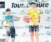 James Piccoli s'est offert une bonne dose de champagne sur le podium, en compagnie de Daniel Whitehouse (à gauche) et de Serghei Tvetkov, ses plus proches poursuivants pour le maillot jaune.