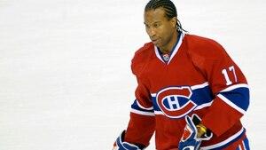 Georges Laraque alors qu'il portait les couleurs du Canadien de Montréal en 2010.
