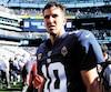 Après 15 ans comme quart-arrière des Giants, Eli Manning passe le flambeau à son dauphin Daniel Jones, dimanche.