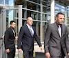 Les quatre policiers de Trois-Rivières accusés d'avoir frappé violemment Alexis Vadeboncœur et d'avoir fabriqué de faux documents. De gauche à droite, Barbara Provencher, Marc-André St-Amant, Dominic Pronovost et Kaven Deslauriers.