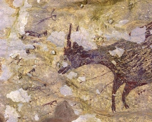 La fresque représente une scène de chasse.
