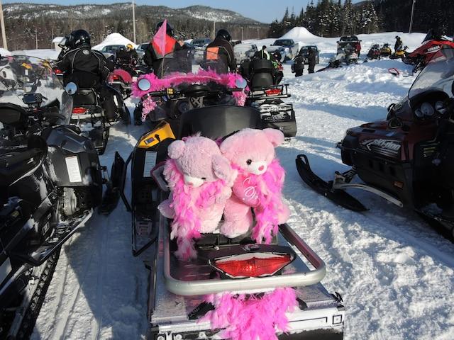 On aperçoit quelques-uns des 115 motoneigistes lors du départ de samedi, à 10 h.